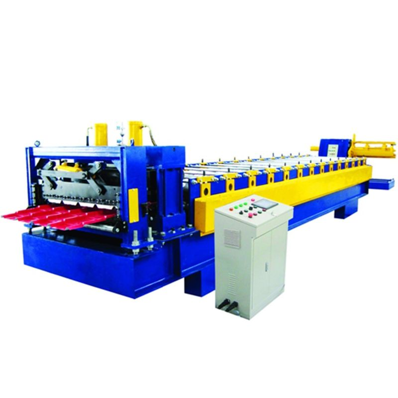 0.5-0.8mm Metal Glazed Roof Tile Making Machine , Roof Tile Roll Forming Machine